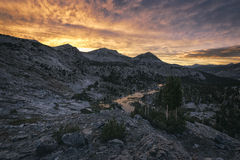 Заход солнца в горах Стоковая Фотография RF