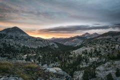 Заход солнца в горах Стоковая Фотография