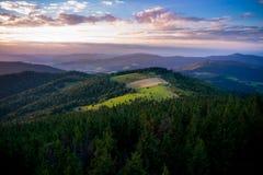 Заход солнца в горах Gorce Стоковые Фотографии RF