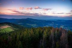 Заход солнца в горах Gorce Стоковые Изображения RF