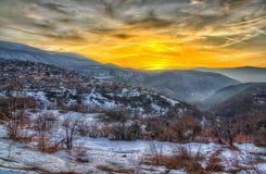 Заход солнца в горе Rodophe стоковая фотография