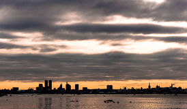Заход солнца в городе Таллина Стоковая Фотография