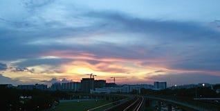 Заход солнца в городе Стоковые Изображения RF