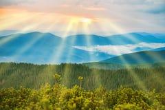 Заход солнца в голубых горах Стоковая Фотография