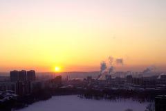 Заход солнца в Екатеринбурге Стоковые Изображения RF