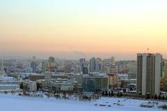 Заход солнца в Екатеринбурге Стоковые Фото