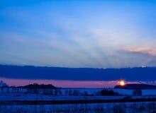 Заход солнца в зиме акции видеоматериалы