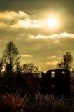 Заход солнца в зоне Kaluga (Россия) стоковое изображение rf