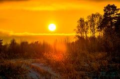 Заход солнца в зоне Kaluga (Россия) стоковая фотография