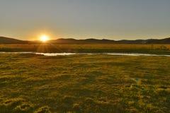 Заход солнца в злаковике Hulun Buir Стоковые Изображения RF