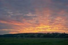 Заход солнца в июле Стоковое Изображение RF