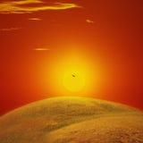 Заход солнца в Казахстане Стоковое Изображение RF