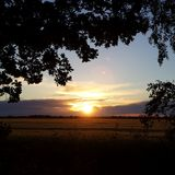 Заход солнца в Линкольншире Стоковая Фотография RF
