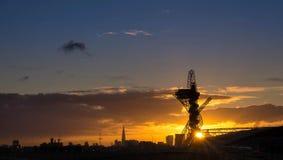 Заход солнца в Лондоне Стоковое Фото