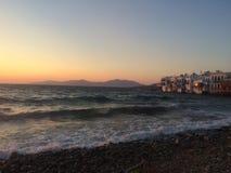 Заход солнца в меньшей Венеции, Греции стоковые изображения
