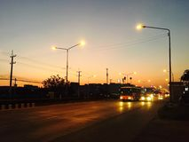 Заход солнца в местном городе Стоковое фото RF
