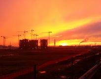 Заход солнца в милане Италии Стоковое Изображение