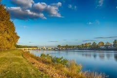 Заход солнца в мосте Эдирне Meric Стоковые Фотографии RF