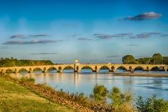 Заход солнца в мосте Эдирне Meric Стоковые Фото