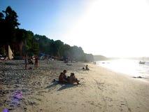 Заход солнца в Натальн-RN побережье, Бразилия Стоковое Изображение RF