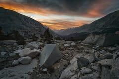 Заход солнца в национальном парке королей Каньона Стоковое фото RF