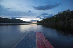 Заход солнца в национальном парке Canaima, Венесуэла стоковая фотография rf