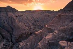Заход солнца в неплодородных почвах Небраски Стоковое Фото