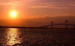 Заход солнца в Ньюпорте, Род-Айленде Стоковые Изображения