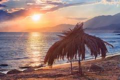 Заход солнца в океане Стоковая Фотография