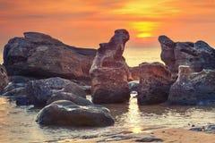 Заход солнца в океане Стоковые Изображения