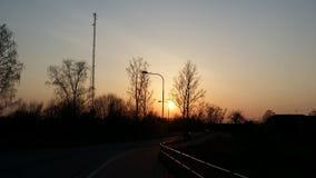 Заход солнца в осени Стоковые Фотографии RF