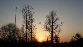 Заход солнца в осени Стоковая Фотография