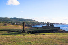 Заход солнца в острове пасхи, Чили Стоковые Изображения RF