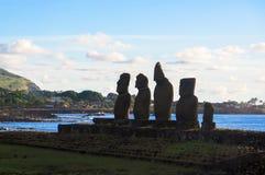 Заход солнца в острове пасхи, Чили Стоковое Фото