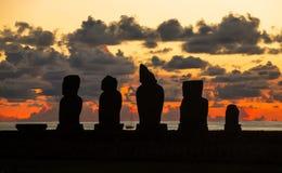 Заход солнца в острове пасхи, Чили Стоковое фото RF