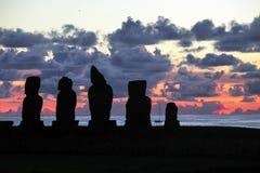 Заход солнца в острове пасхи, Чили Стоковая Фотография