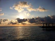 Заход солнца в острове, Сабахе Борнео Стоковая Фотография RF