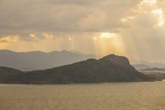 Заход солнца в острове Nokonoshima, Японии Стоковая Фотография