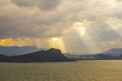 Заход солнца в острове Nokonoshima, Японии Стоковая Фотография RF