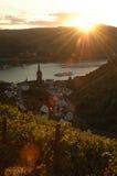 Заход солнца в долине Германии Рейна Стоковое Фото