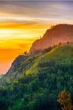 Заход солнца в долине около городка Эллы, Шри-Ланки Стоковое Изображение