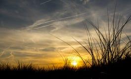 Заход солнца в песчанных дюнах на пляже Стоковое Фото