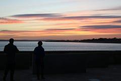 Заход солнца в Портсмуте Великобритании Стоковое Фото