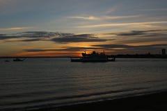 Заход солнца в Портсмуте Великобритании Стоковые Изображения RF