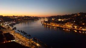 Заход солнца в Порту, Португалии Стоковые Изображения