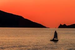 Заход солнца в Порту Venere Стоковое Фото