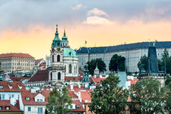 Заход солнца в Праге, чехии Стоковое Изображение