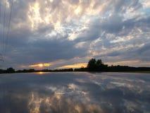 Заход солнца в Праге (чехия) Стоковая Фотография RF