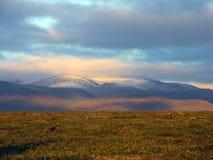 Заход солнца в приполюсном Ural Стоковые Фото