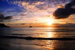 Заход солнца в пурпуре Стоковая Фотография